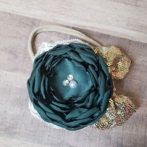 Eclectic Egg Dark Green Glam Bow with Gold Sequins